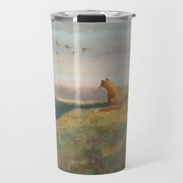 Red Fox Looks Out Over the Valley Travel Mug