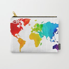 Original Watercolor - Map of The World - Travel Art - Chakra Rainbow Colors Carry-All Pouch