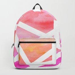 Modern handdrawn stripes geometric pink watercolor Backpack
