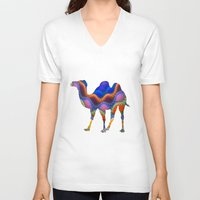 camel V-neck T-shirts featuring Camel by haroulita