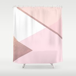 Geometrics - pink peach rose gold Shower Curtain