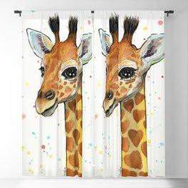 Baby-Giraffe-Nursery-Print-Watercolor-Animal-Portrait-Hearts Blackout Curtain
