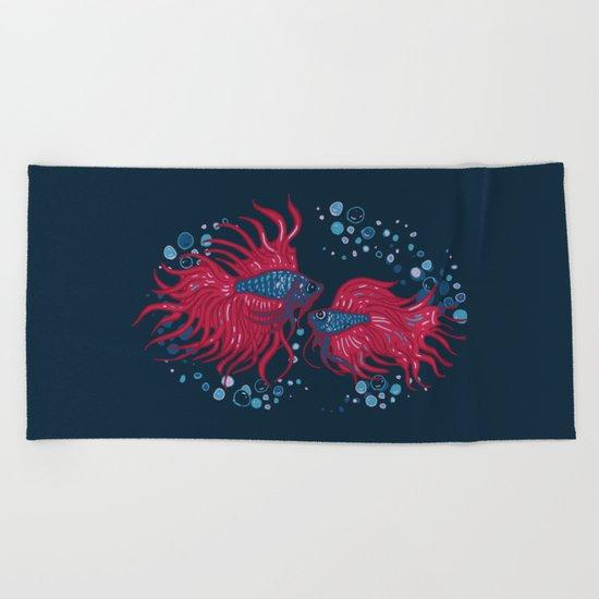 Fighting fish Beach Towel