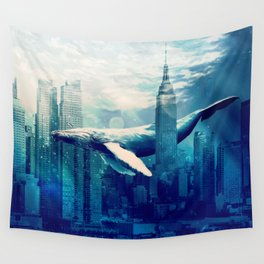 Blue Whale in NYC Wall Tapestry
