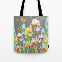 YELLOW BUTTERFLIES SPRING  IRIS GARDEN ART Tote Bag