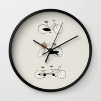 bikes Wall Clocks featuring Bikes by Johanne Karlsrud
