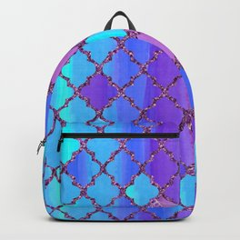 Moroccan Tile Pattern In Purple And Aqua Blue Backpack