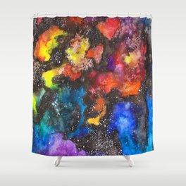 Rainbow Psychedelic Neon Watercolor Galaxy Painting by Imaginarium Creative Studios Shower Curtain