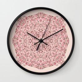 Blush Pink Symmetrical Mandala Flower Star - Geometric Abstract Decorative Floral Art - Boho Free Spirit Wall Clock
