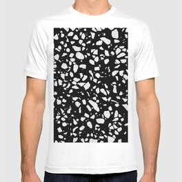 Abstract Terrazzo Mosaic Rusty Brown and Blue Pattern T-shirt