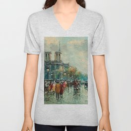 Notre-Dame Cathedral, City Streets of Paris by Antoine Blanchard Unisex V-Neck