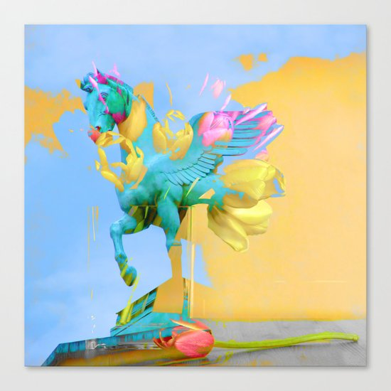 The Fly of Angelic Flowers - Digital Mixed Fine Art Canvas Print