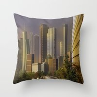 cityscape Throw Pillows featuring Cityscape by Viggart