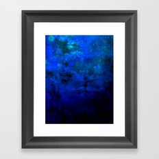 SECOND STAR TO THE RIGHT Rich Indigo Navy Blue Starry Night Sky Galaxy Clouds Fantasy Abstract Art Framed Art Print