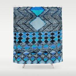 V32 Boho Blue Traditional Moroccan Carpet. Shower Curtain