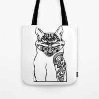 maori Tote Bags featuring Maori Kitty by Sofy Rahman