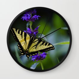 Butterfly on a Purple Flower Wall Clock