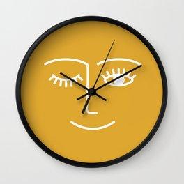 wink / mustard Wall Clock