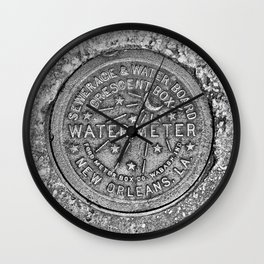 New Orleans Water Meter Cover, Crescent City Wall Clock