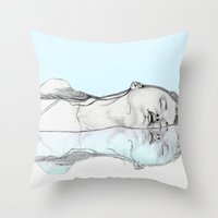 swim Throw Pillows featuring Swim by Christina Marie