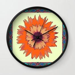 Southwest Sunflower with Moss Green Border Wall Clock