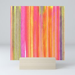 Neon Line Streaks Abstract Mini Art Print