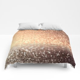 Cozy Copper Espresso Brown Ombre Autumnal Mermaid Glitter Comforters