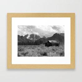 Little House on the Prairie (black and white) Framed Art Print