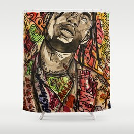 La flame,music,hiphop,poster,astro world,tour,wall art,artwork,painting,colourful Shower Curtain