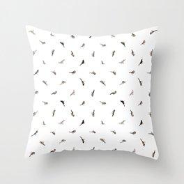 Garden Birds in Monochrome (Fine) Throw Pillow