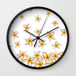 Lillies - Handpainted pattern - white background Wall Clock