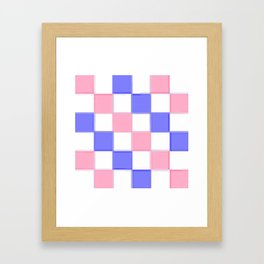Pink & Blue Checkers / Checkerboard Framed Art Print