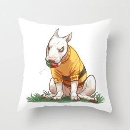 Mad dog in bumble bee sweater  Throw Pillow
