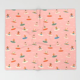 Surf kids Throw Blanket