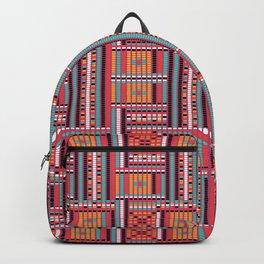 Vintage red orange ethnic aztec geometrical pattern Backpack