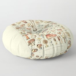 Trippy Vintage Mushroom Chart // Champignons by Adolphe Millot 19th Century Science Artwork Floor Pillow
