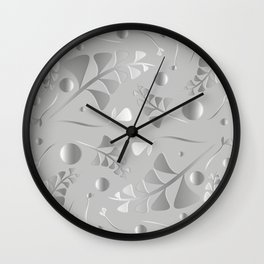 Vector pattern from silver black plants and grass blades on a gray background in vintage style. For Wall Clock