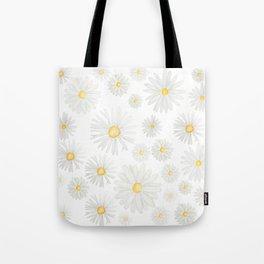 white daisy pattern watercolor Tote Bag