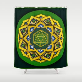 """Sacred geometry"" Green mandala by Ilse Quezada Shower Curtain"