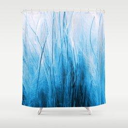 Feather Grass Blue Shower Curtain