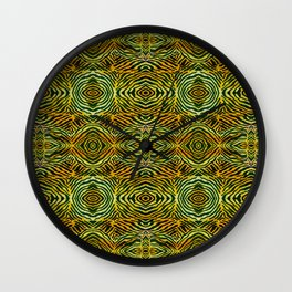 Tiger in a Circle African Dye Resist Fabric Adire Boho Chic Wall Clock
