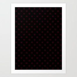 Burgundy Red on Black Snowflakes Art Print