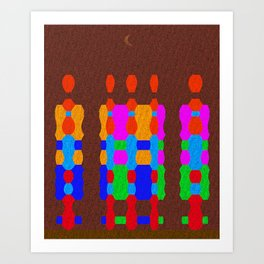 Midnight Queue (Geometric Texture) Art Print