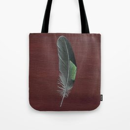 Wood Duck Feather on Wood Tote Bag