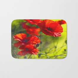 Red Poppies on green background #decor #buyart #society6 Bath Mat