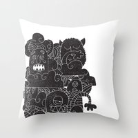 monsters Throw Pillows featuring MONSTERS by Matthew Taylor Wilson