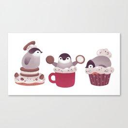 Cookie & cream & penguin Canvas Print