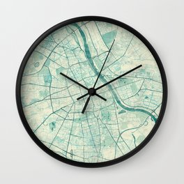Warsaw Map Blue Vintage Wall Clock