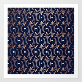 COPPER WAVE - NAVY BLUE Art Print