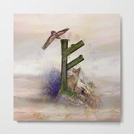 Fehu Rune  Digital Art Collage Metal Print